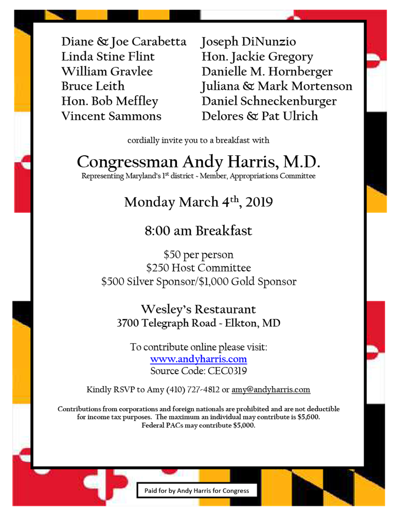 Breakfast with Congressman Andy Harris